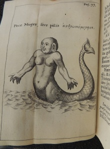 "Black and white engraving of a creature that is half human with a long fish's tail. The human part is nude to the waste and appears to be female. Script on the illustration reads, ""Pece Muger, sive piscis,"" followed by letters in Greek."