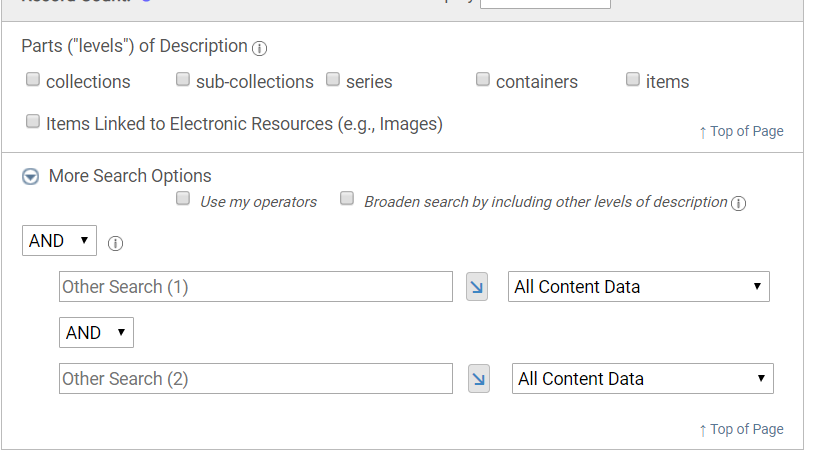 A screenshot of the further options for Advanced Search in CARDinal.