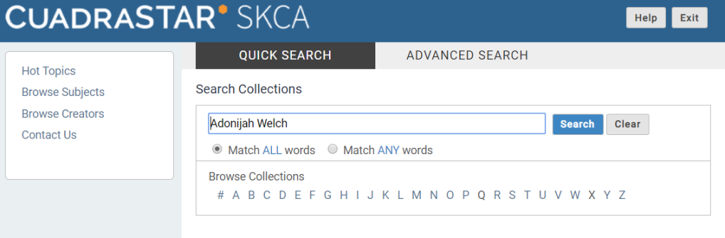 A screenshot of the quick search function in CARDinal.