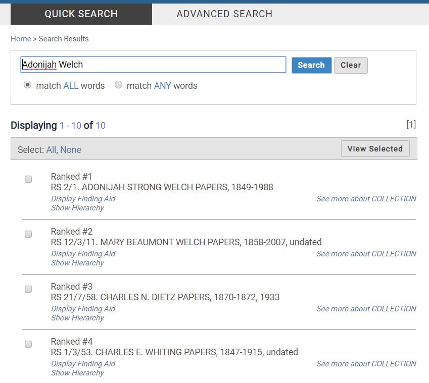 Screenshot of quick search results in CARDinal.