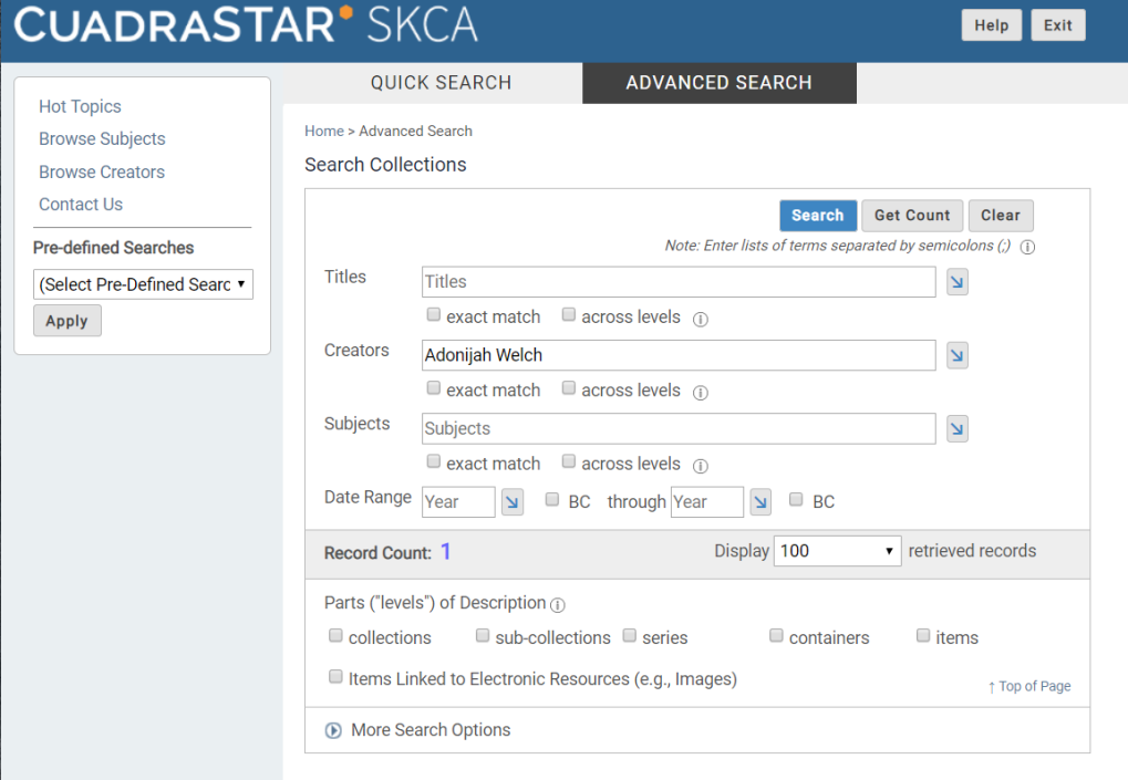 Screenshot of Advanced Search in CARDinal.