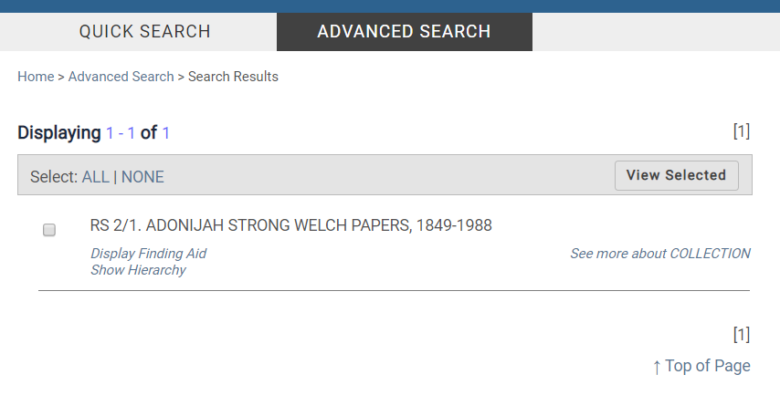 A screenshot of Advanced Search results in CARDinal.