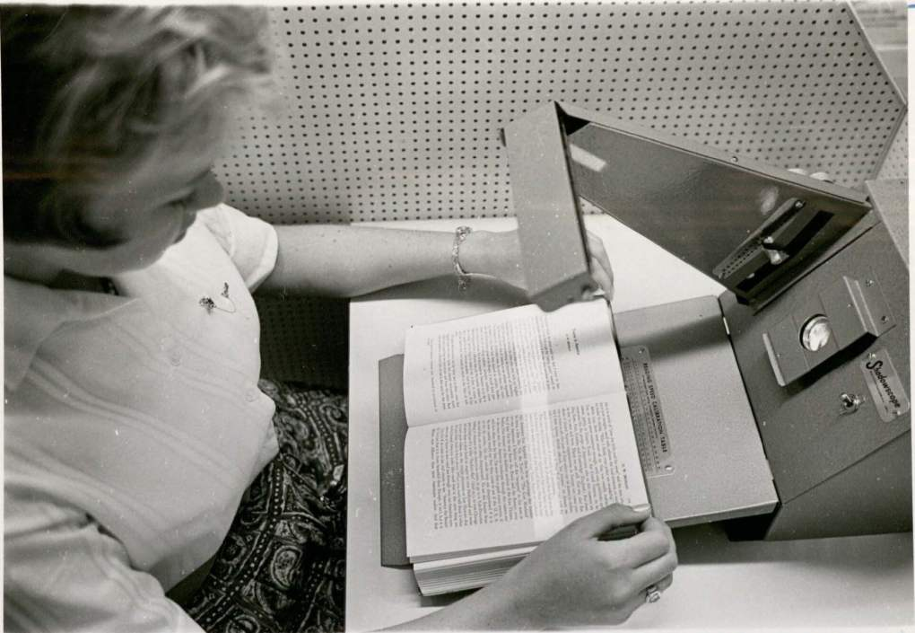 Image of Girl in English Reading Lab circa 1962. RS 13/10/D,F,G, University Photos, box 1073.