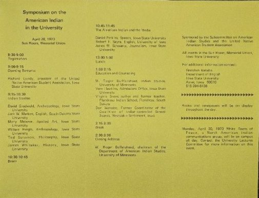 Schedule of events for the 1973 Symposium of the American Indian in the University.