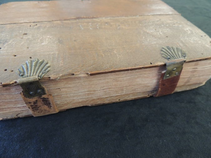 Leather thongs wrap around the edge of a book with metal clasps and catch in the shape of seashells.