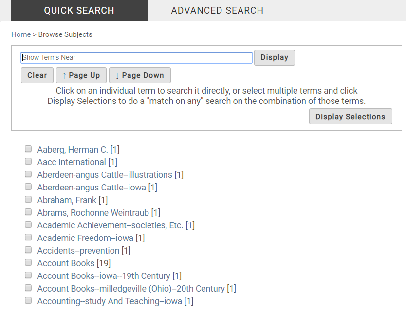 "Screenshot of the ""Browse Subjects"" page in CARDinal."