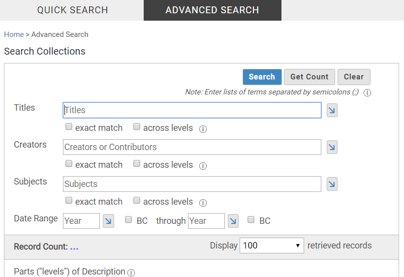 "Screenshot of the ""Advanced Search"" in CARDinal."