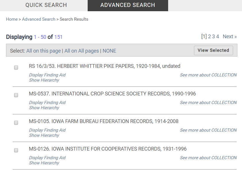 Screenshot of subject search results in CARDinal.