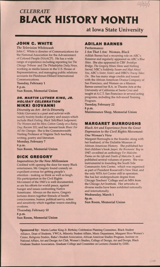 "Flyer from February of 2000 titled ""Celebrate Black History Month at Iowa State University"" advertising the events for Black History Month."