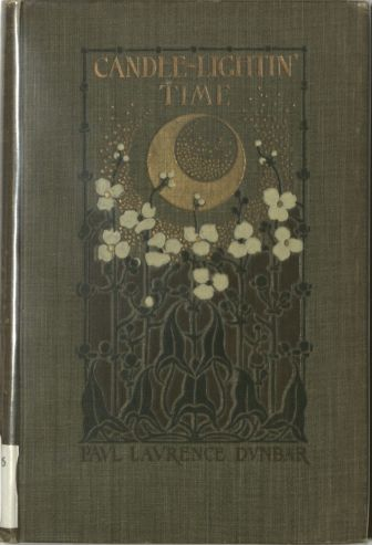 Gray cloth cover with stamped design featuring white flowers on black stems and leaves against a dark red background and a gilt moon.