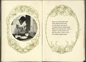 Left page has a black and white photograph showing a Black woman kneading dough in a kitchen. Left page has the second stanza of the poem.