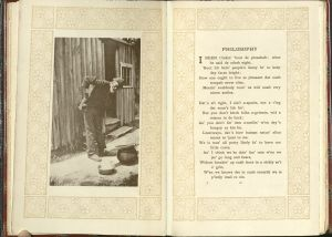 "Pages showing on left a black man hunched over in front of a wood shack; on right, the text of the poem, ""Philosophy."""