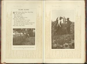 Left page gives first stanza of poem along with a black and white photograph of a well-dressed Black couple stopped at a fence under trees. On right page a black and white photograph of the same coule, but closer up. The man and woman are facing each otherk, the woman wearing a nice dress and fancy hat, the man wearing a suit and hat.