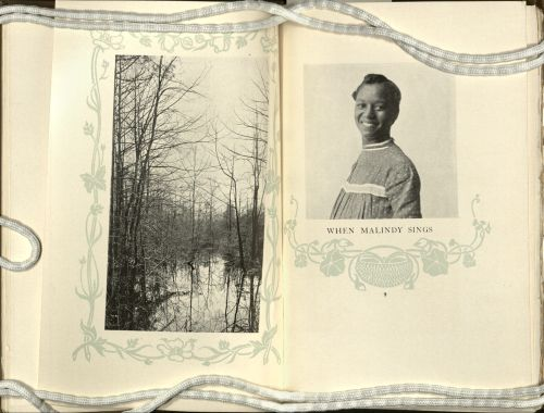 Left page of book shows a black and white photograph of a forested swampy landscape. Right page shows a black and white photograph of a smiling African American woman in a dress.