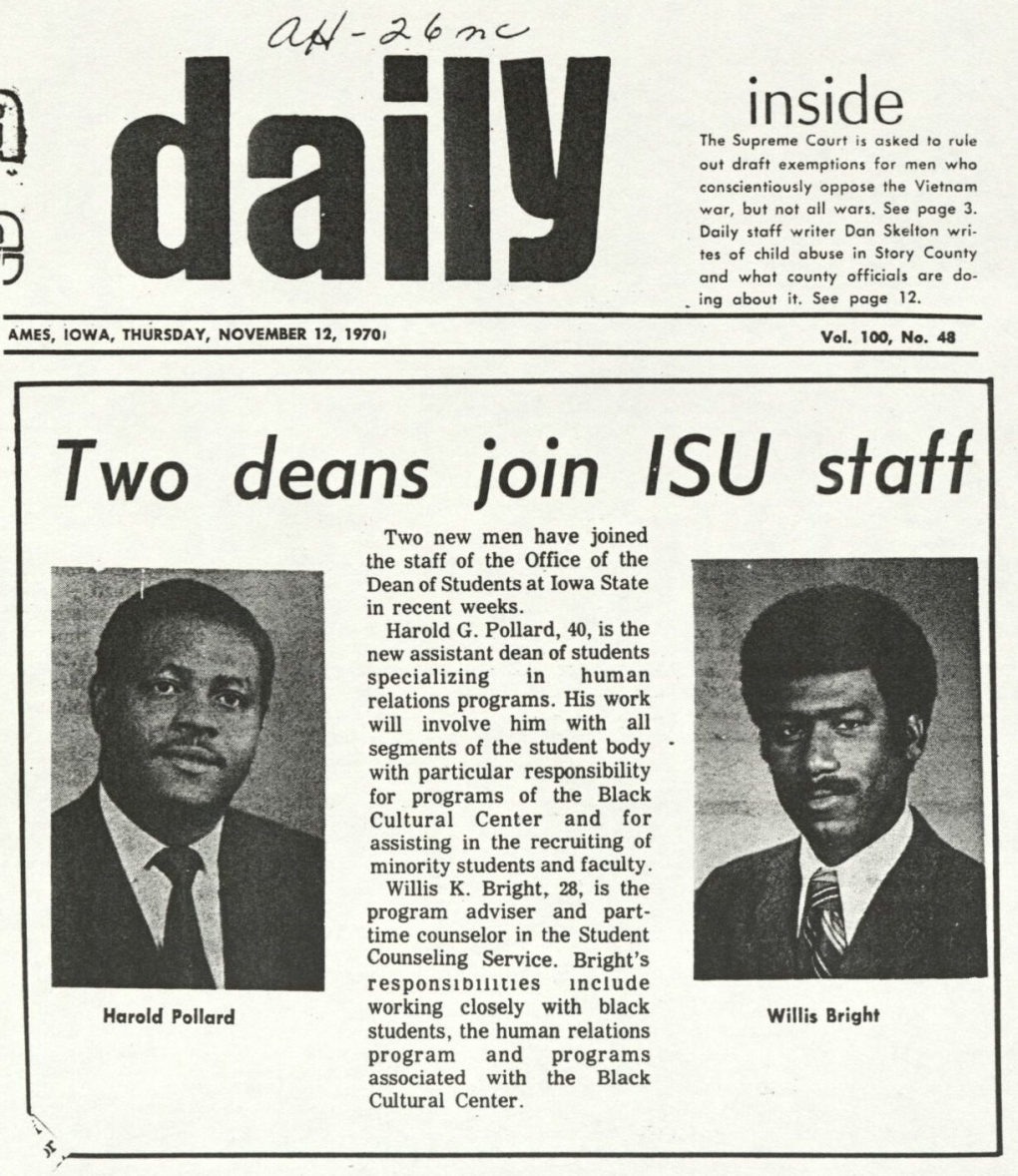 Iowa State Daily news clipping announcing the hiring of Harold Pollard and Willis Bright.