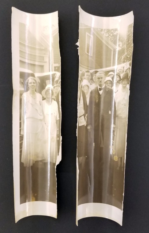 Pieces of a rolled photo that have torn off. RS 13/12/22