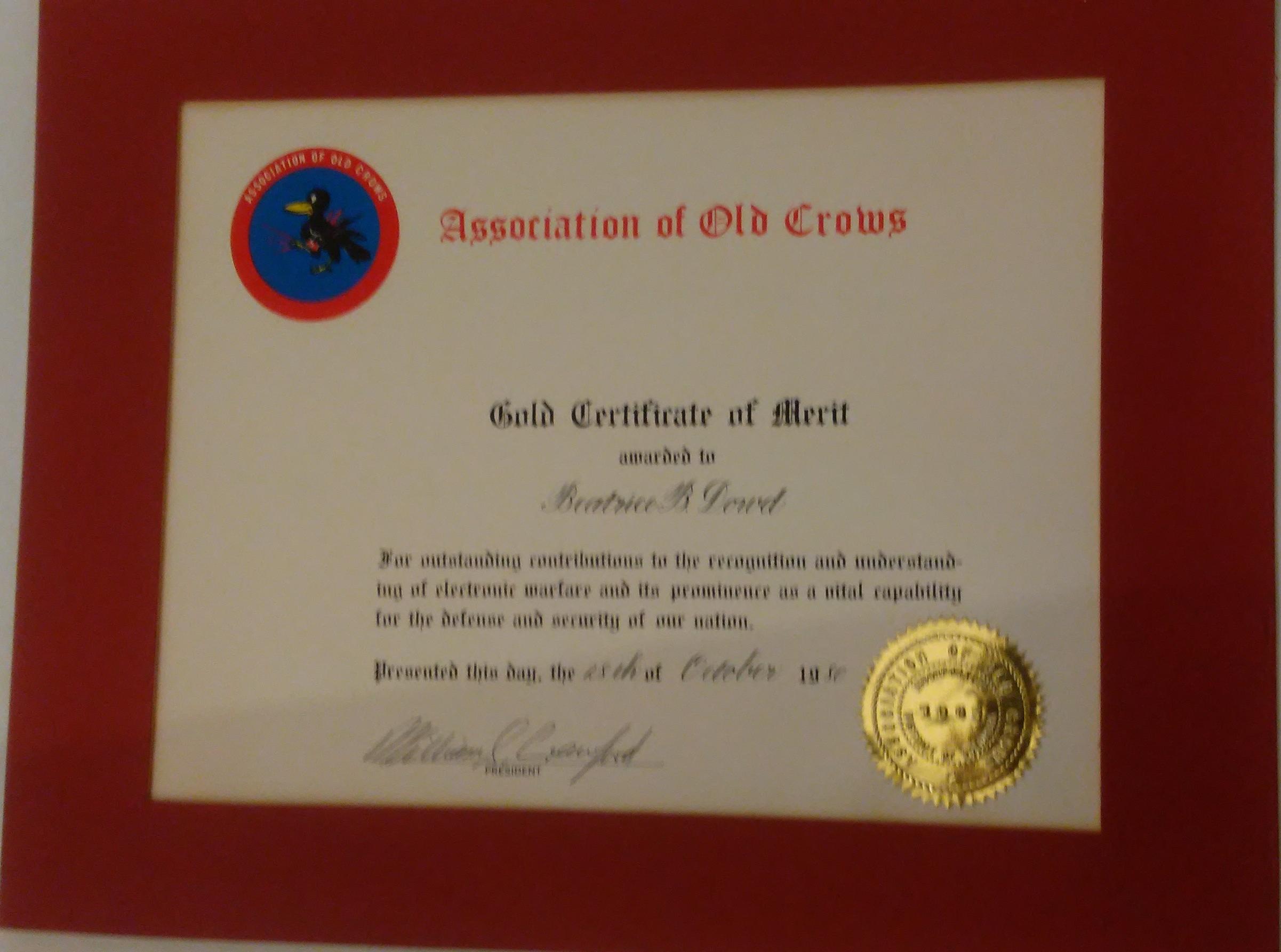 AOC Certificate