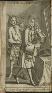 Black and white engraving of a man dressed in 17th century fashion with a large wig, a long coat hitting at the knee, stockings, and healed shoes, standing in front of a mirror, while a second man arranges his hair from behind.