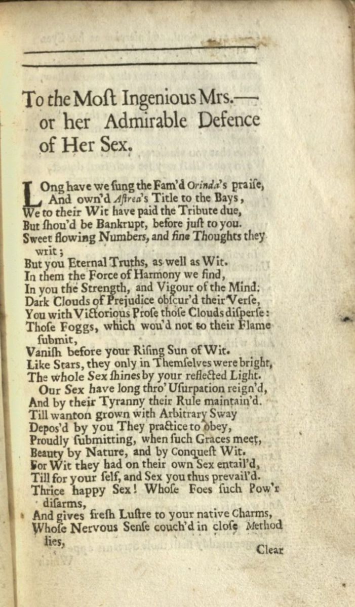 "Poem has the title, ""To the Most Ingenious Mrs. --- for her Admirable Defence of Her Sex"""