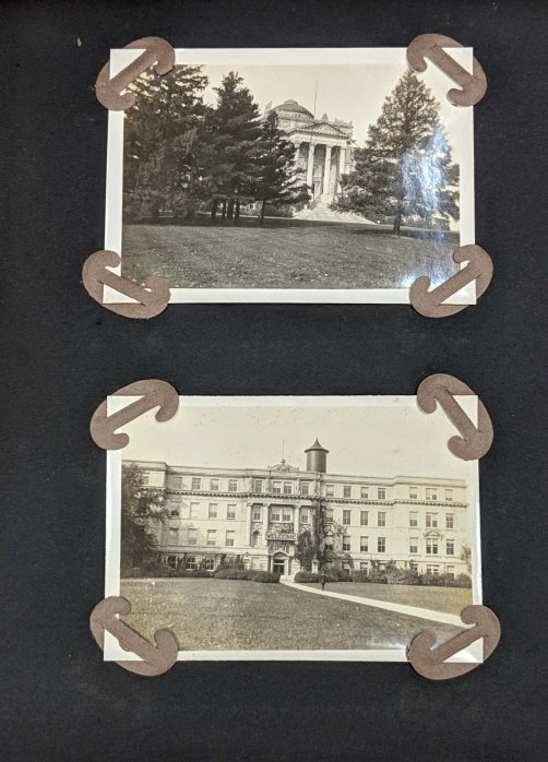 Photo album page of Fan-Chi Kung holding two black and white photos of Beardshear Hall and Engineering Hall in the 1920's.