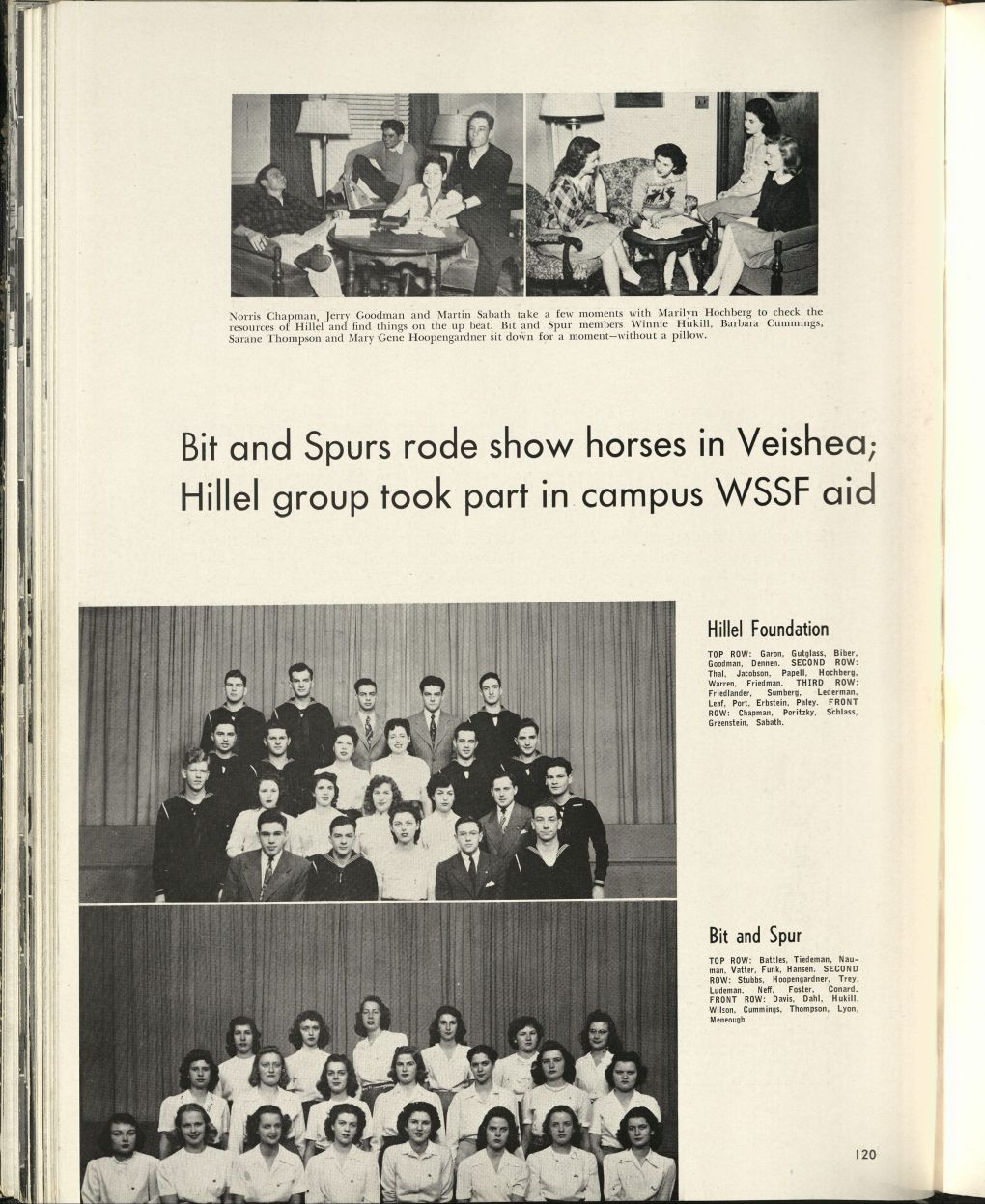 "1946 Bomb Yearbook, page 120. There are group pictures and the following title: ""Bit and Spurs rode show horses in Veishea; Hillel group took part in campus WSSF aid."""