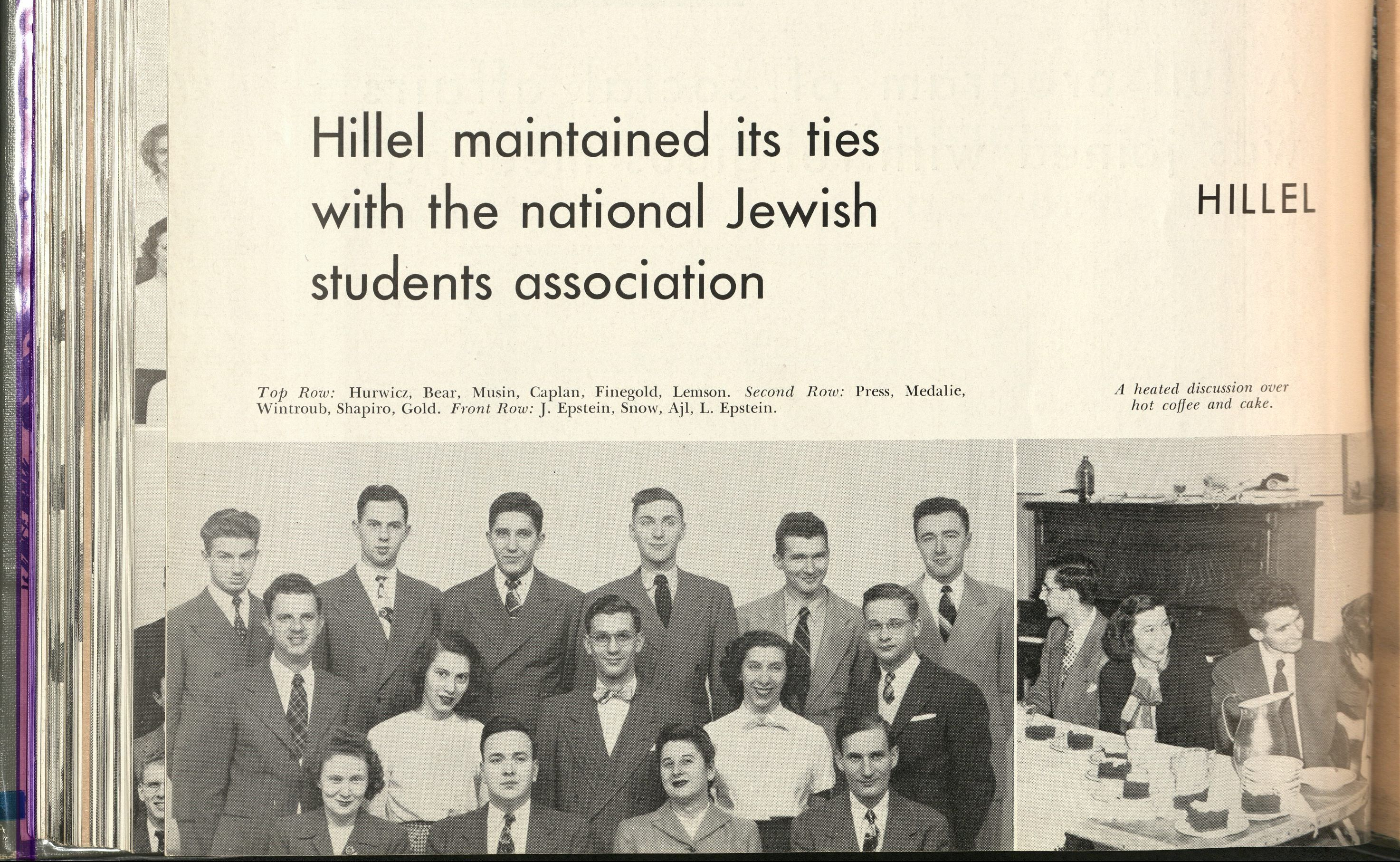 "Images of group shots of the Hillel Club. The title reads, ""Hillel maintained its ties with the Jewish students association."""