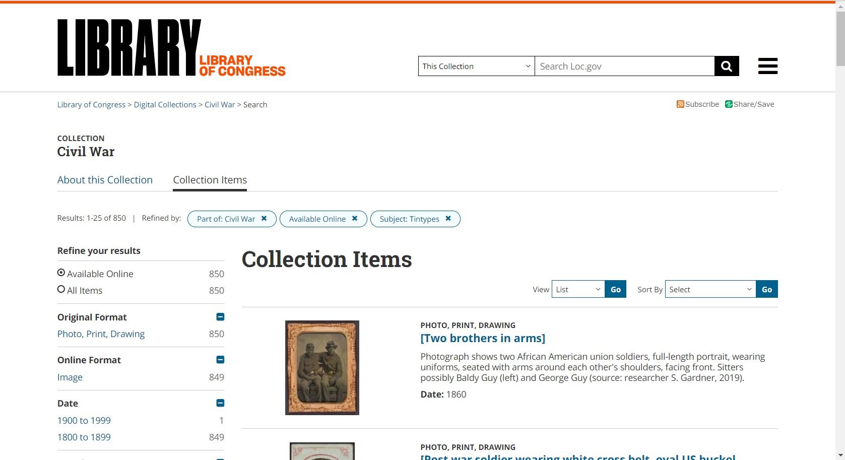 LoC catalog screenshot
