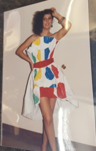 "Student modelling a ""Twister"" dress."