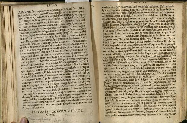 "View of an open book. At the top of the right page, you can see only the bottom portion of letters forming the word ""Tertius."" The tops of the letters have been trimmed off."