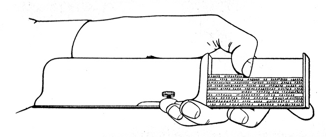 Line drawing of a left hand holding a metal tool that acts as a shelf on which lines of metal types are stacked.