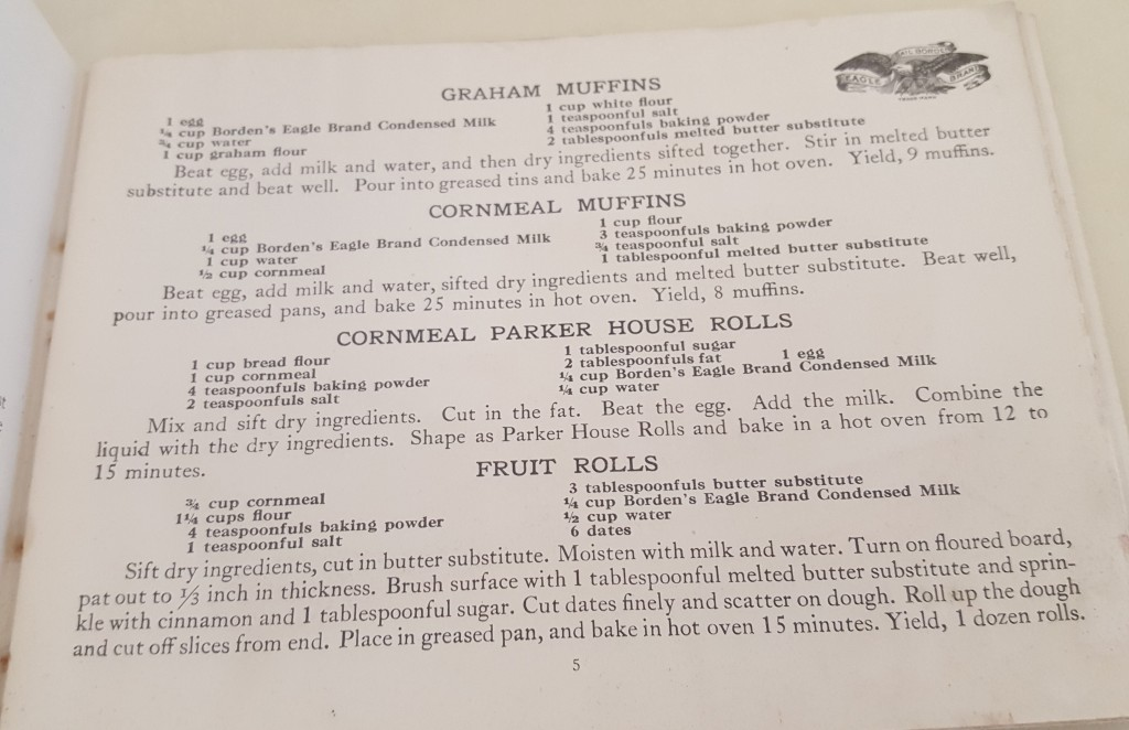"""Recipes for """"Graham Muffins"""", """"Cornmeal Muffins"""", """"Cornmeal Parker House Rolls"""", and """"Fruit Rolls"""" on page 5."""