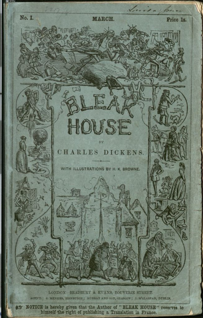 Cover illustrated with detailed black and white illustrations showing scenes of men, women, and children in a number of scenes representing 19th century English life.