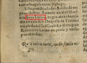 Image of text on a page in an older Spanish. The name Juan Latino is outlined in a red box digitally added to the image. The name Juan has an archaic spelling of I-U-A-N.