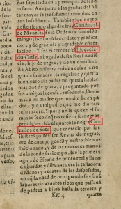 Image of a page of Spanish text with red boxes added to outline three names: Christobal de Meneses, Licenciado Ortiz, and Catalina de Soto.