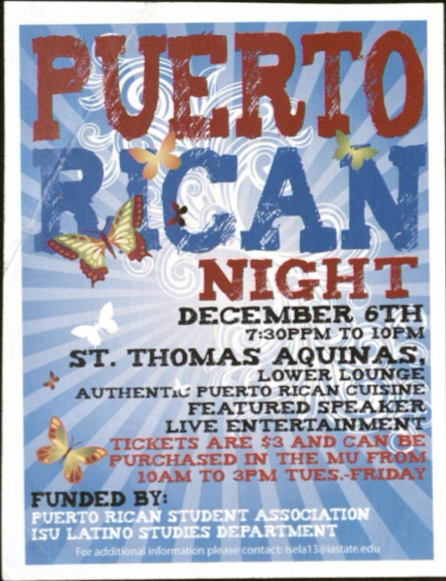 Event poster for Puerto Rican Night on December 6th at St. Thomas Aquinas. No year specified.