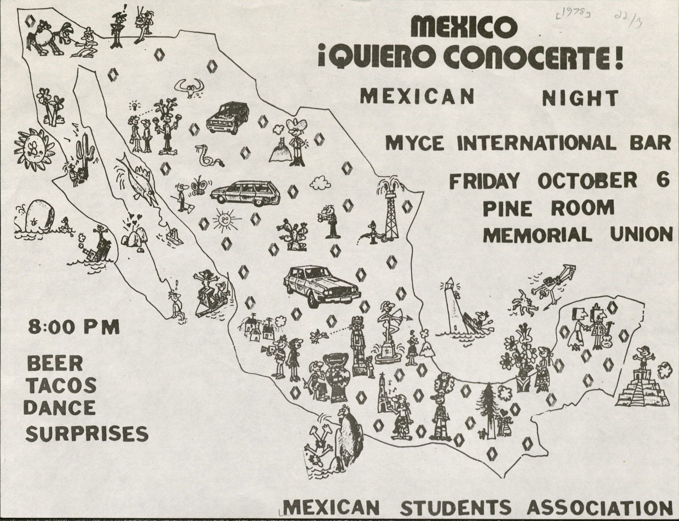 Poster for a 1979 MU event. RS 22/3 Mexican Students Association