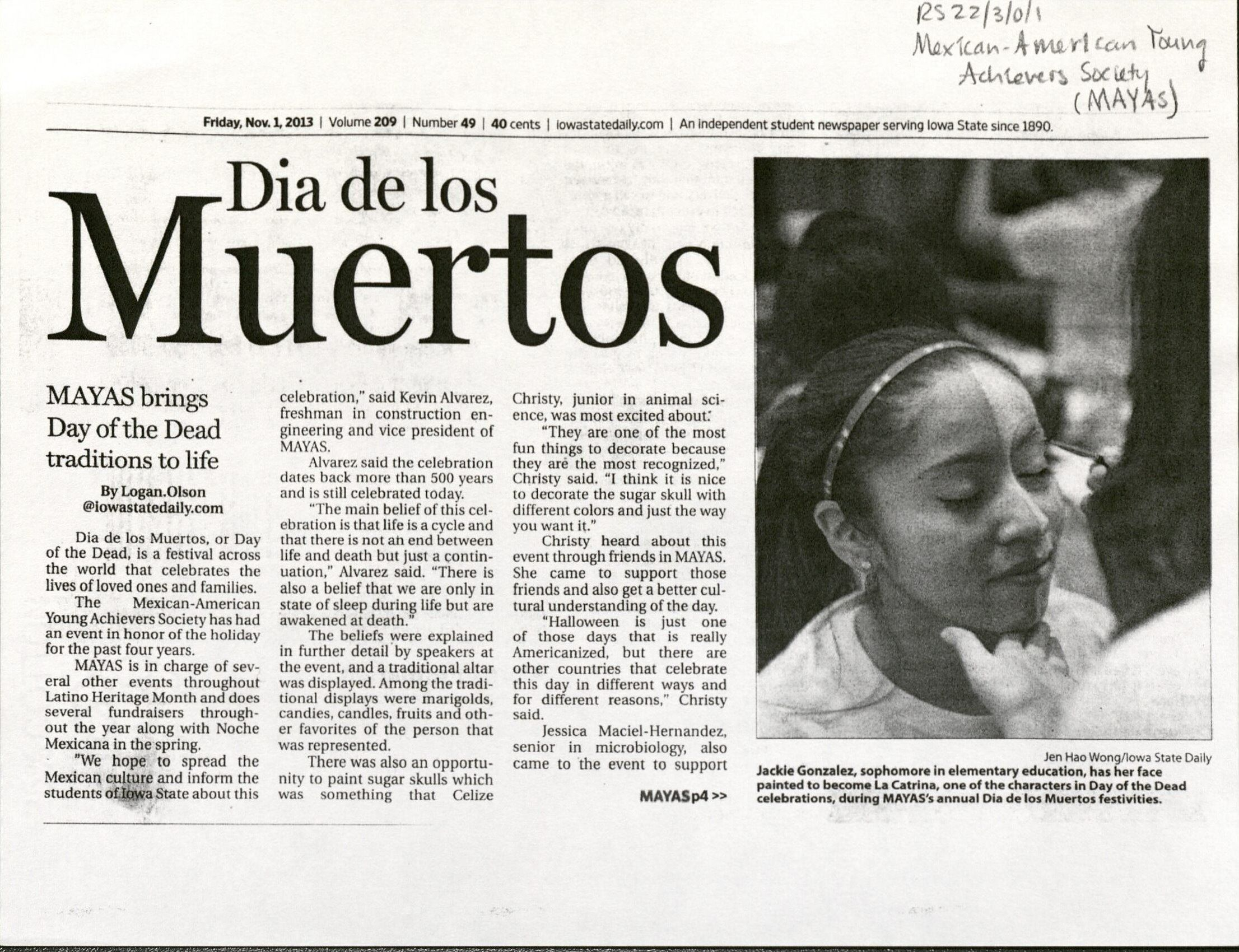 """2013 article from the Iowa State Daily titled """"Dia de los Muertos: MAYAS brings Day of the Dead traditions to life"""