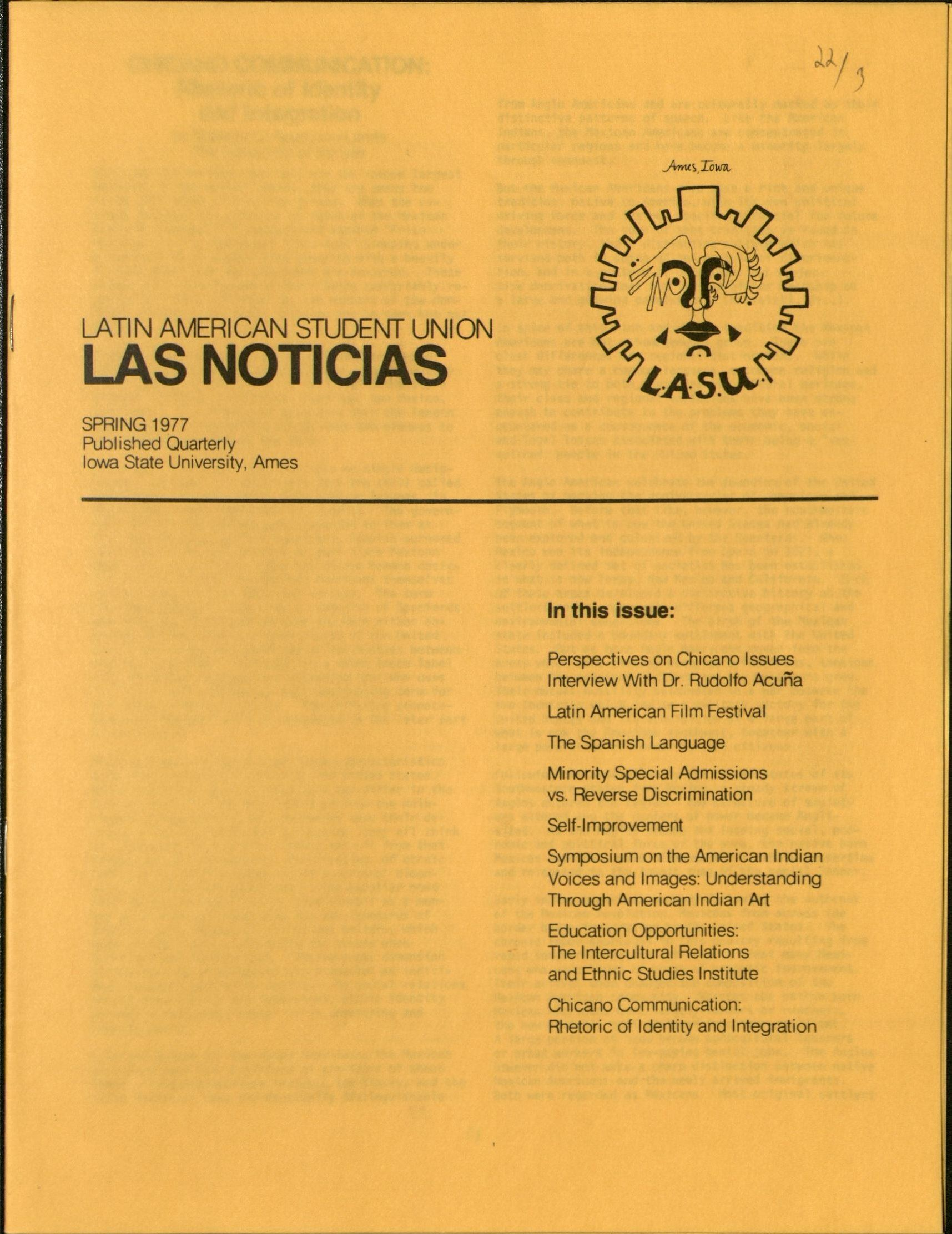 Excerpts from a publication titled Las Noticias from spring 1977