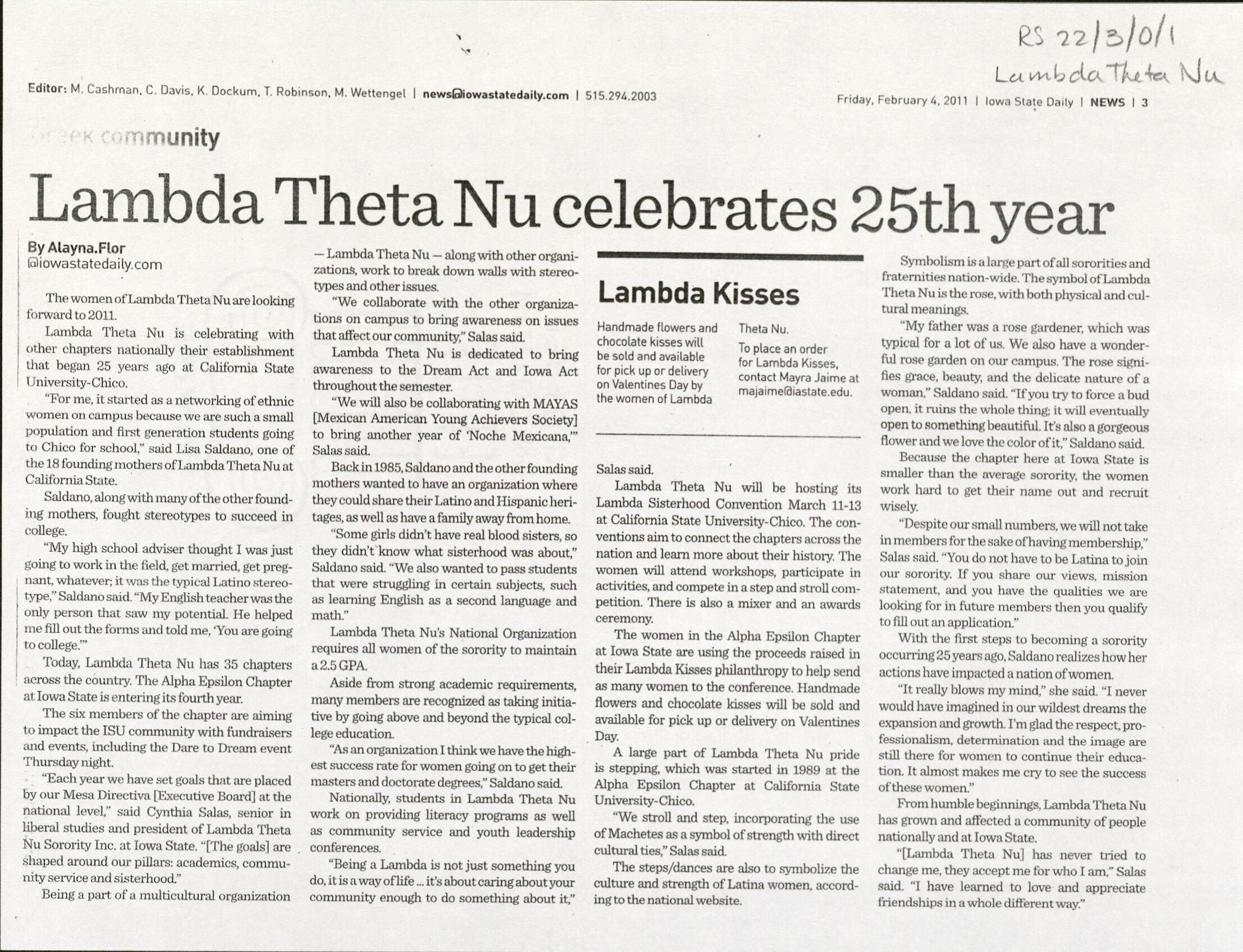 "Iowa State Daily article titled ""Lambda Theta Nu celebrates 25th year"