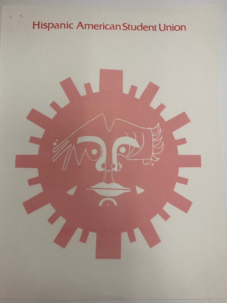 Poster, white background with an sun shape with a coral color and a face in the middle of a sun, and the face is made of other shapes.
