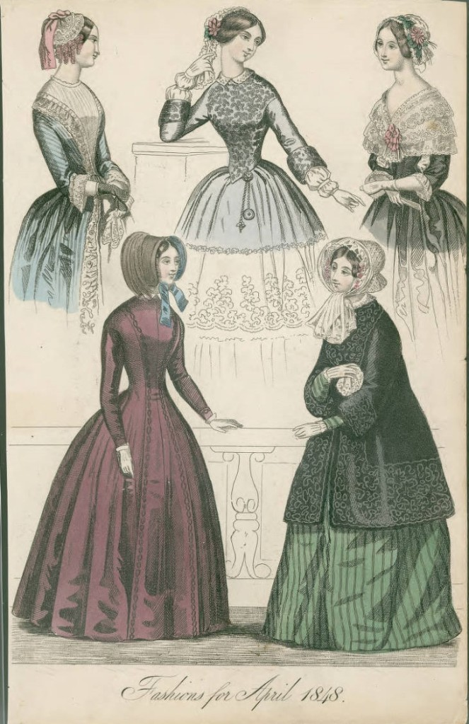 Fashions for April, illustrating a loose fitting coat and 4 dresses all with fitted bodices and full skirts. Top left dress has jewel neckline, 3/4 length, ruffle cuffed sleeves, and net mitts; top center has a jewel neckline, 3/4 oversleeves with wrist length, pleated undersleeves, and brooches pinned to waist; top right has a 'V' neckline with an attached lace capelet with center front bow and ruffle cuffed, 3/4 length sleeves; all top views have lace caps. Left coat dress is simple and fitted with a fold over collar; long, fitted sleeves, and a bonnet. The coat fits loosely over the body and is approximately knee-length with 3/4 sleeves, but the dress has long sleeves; worn with a lace and flower trimmed bonnet. (Published for The New Belle Assemblee: a Magazine for Literature and Fashion)