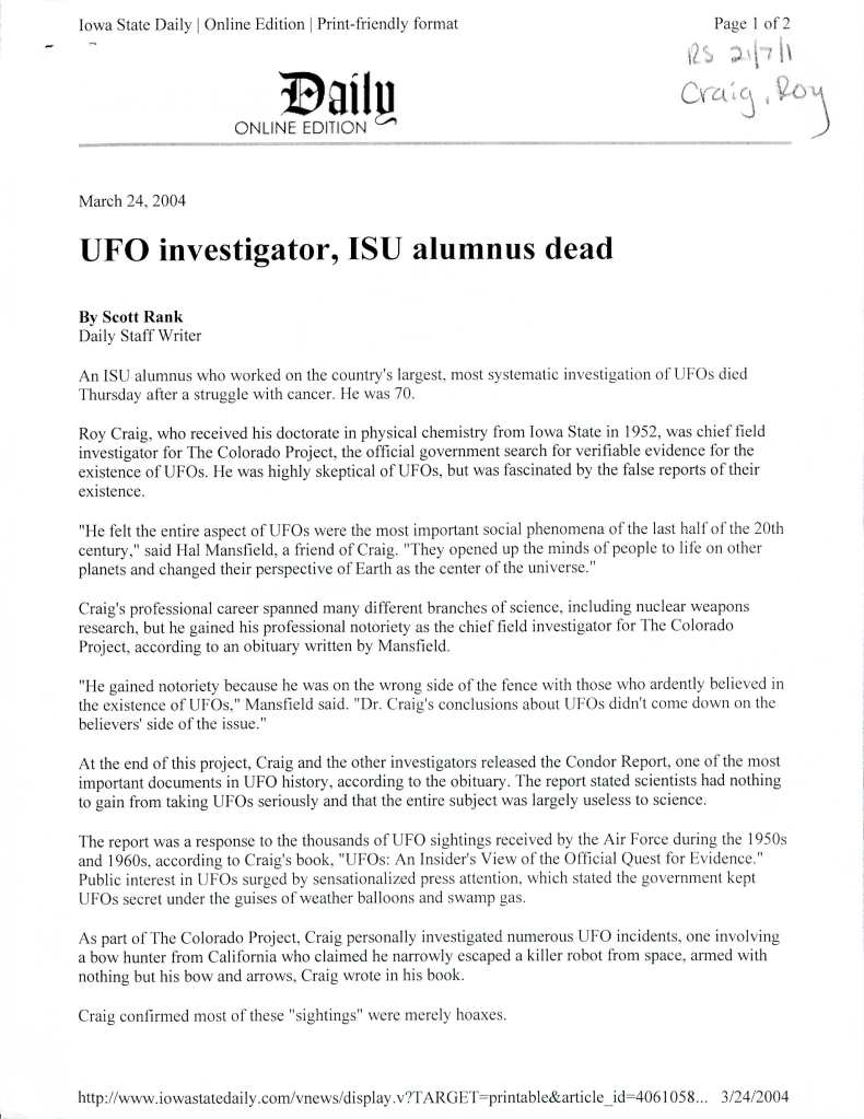 """Photocopy of a print-friendly format of an Iowa State Daily article (linked above) from March 24, 2004, entitled """"UFO investigator, ISU alumnus dead"""" by Scott Rank."""