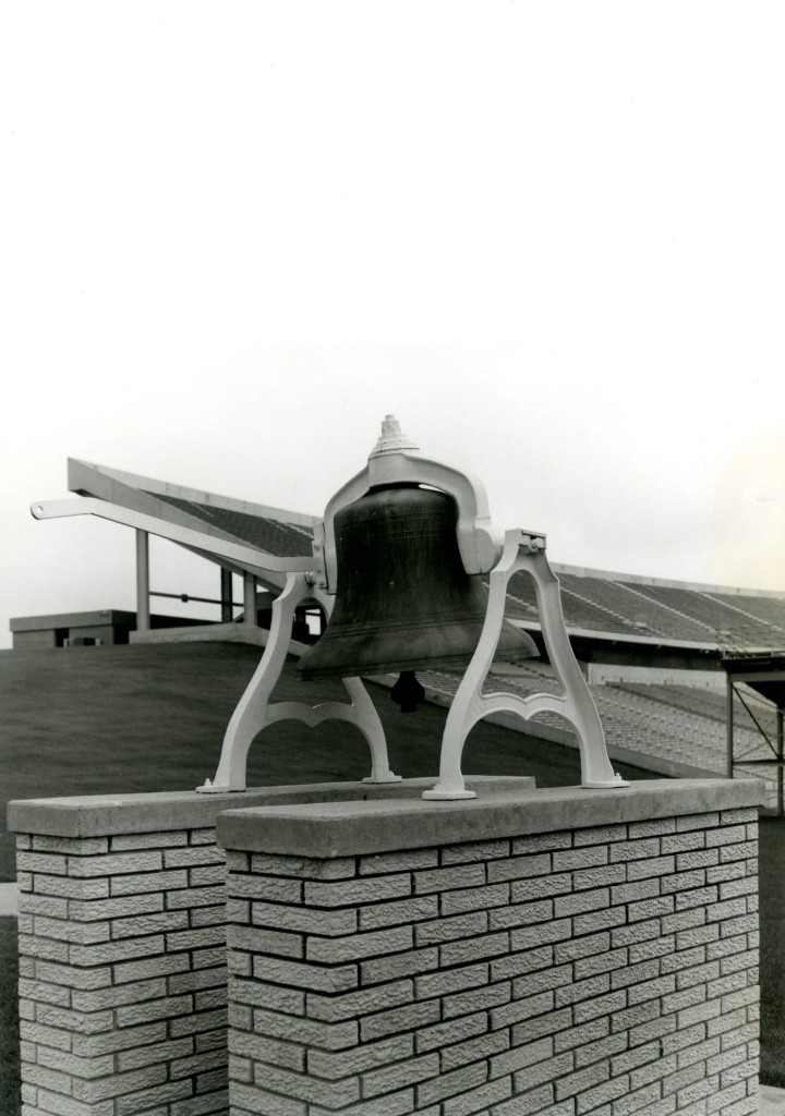 Photo of the Victory Bell after it had been relocated to the north side of Jack Trice Stadium.