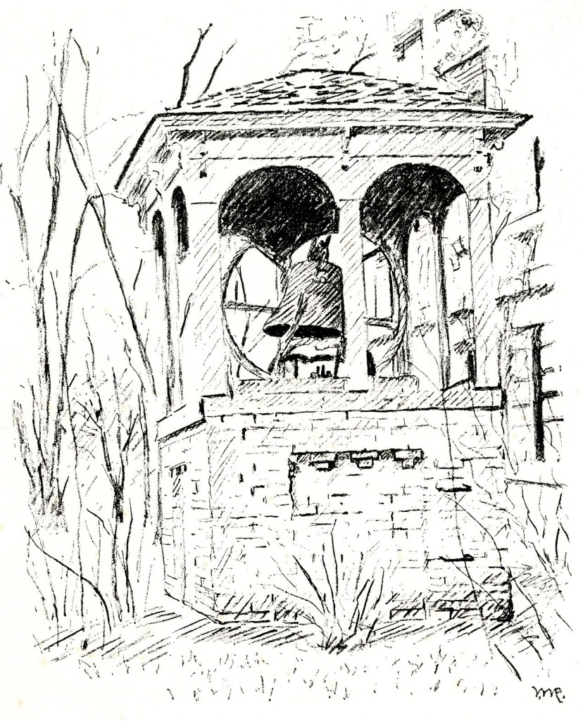 Sketch drawing of the College/Victory Bell in its housing behind Beardshear Hall.