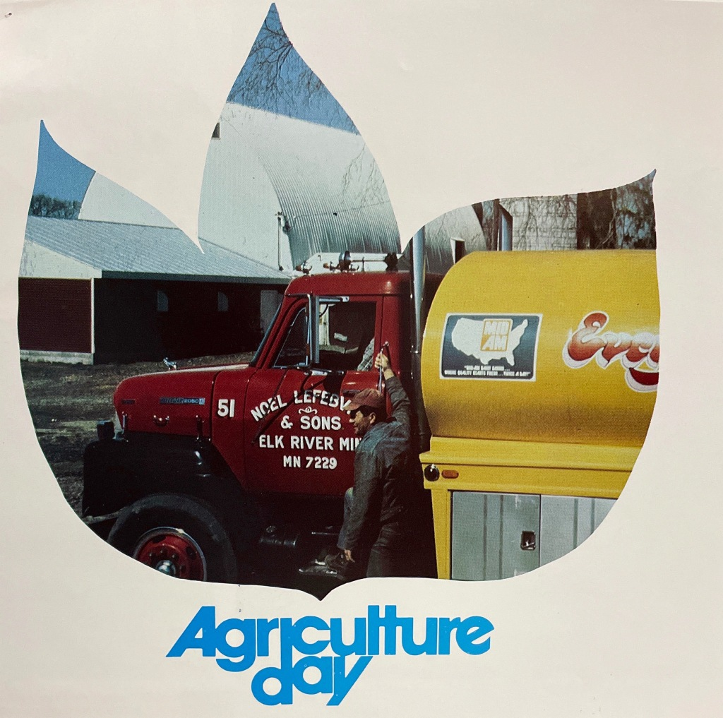 """News clipping photo showing a man with a semi truck, titled """"Agriculture Day"""""""